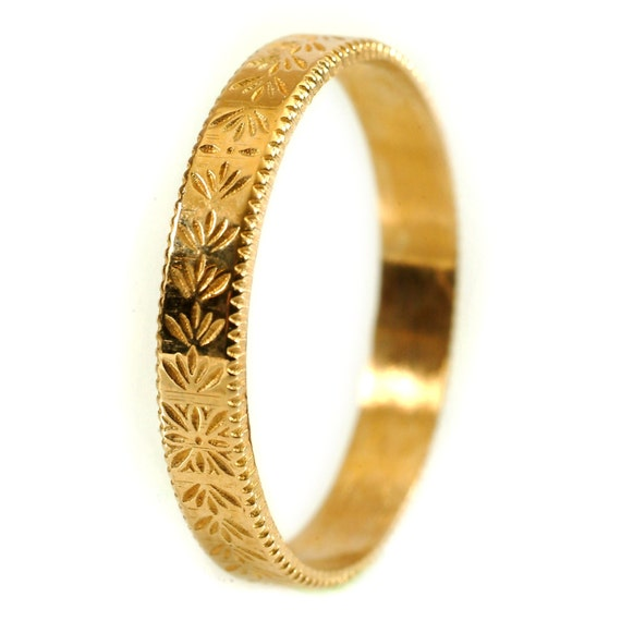 Gold Stackable Ring Art Nouveau Floral Design in 10K 14K 18K or Palladium, Made in Your Size Cr-5036