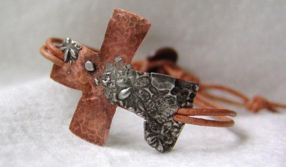 Sideways Cross Bracelet Leather Leather Cross Bracelet