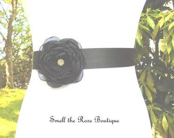 Bridal Sash,Black Wedding Flower Sash Belt,Wedding Accessories,Bridal Sash Belt