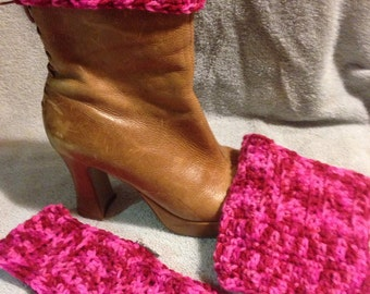 Hot pink Boot Cuffs with matching head band