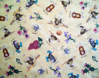 "Little Mouse print fabric  ( 43"" x half yd ) - x 1"