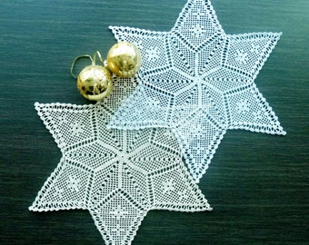 Gold and Silver Christmas Filet Crochet Doilies With Edging