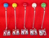5 pieces (5 colors/ 1 piece each color) of  Vintage 70's New Old Stock German Coat/ Hat Double Hooks NR423NP/5