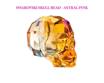 Skull Beads Swarovski Crystal 13mm - 1 pc - Astral Pink  Crystal Skulls - 5750-13CLas