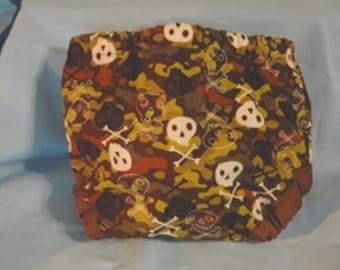 Skull and crossbones camoflouge diaper cover