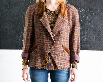 Vintage 80s blazer. Oversize blazer. Velvet collar. 1980s jacket. Made in Spain.