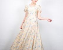 Vintage 70s Dress Maxi Dress Hippie Dress Cream Floral Print Boho Dress 1970s Dress Hippy Festival Dress Hippie Wedding Dress XS S Small