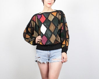 Vintage 80s LEATHER Shirt Knit Trim Pullover Slouch Top 1980s Suede Leather Harlequin Color Block Mod Shirt Long Sleeve Boho Top M Medium L
