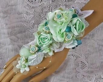 Wedding Corsage-Bride's Corsage-Bridal Corsage-Bride's Flowers-Wrist Corsage-Mint/Teal/Seafoam-Fabric Corsage-Prom Corsage-Prom Flowers-Prom