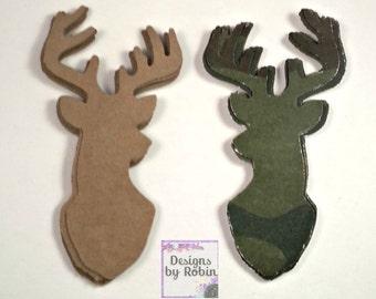 20 Deer diecuts - 10 brown and 10 Camo -diecut mounted deer head - buck die cuts - wilderness diecuts-wedding - country - outdoor dies