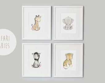 SET of 4 Prints, UNFRAMED Safari Baby Prints, Africa Animals, Giraffe, Elephant, Zebra and Lion, Gender Neutral, Unisex Nursery Art