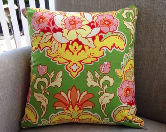 """Heather Bailey Pop Garden """"Pineapple Brocade"""" in Green 40cm cushion cover/pillow backed with EST linen"""