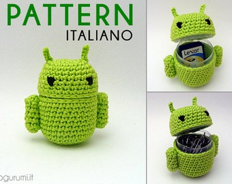 Android-shaped container - Crochet Amigurumi Pdf Pattern (ita)