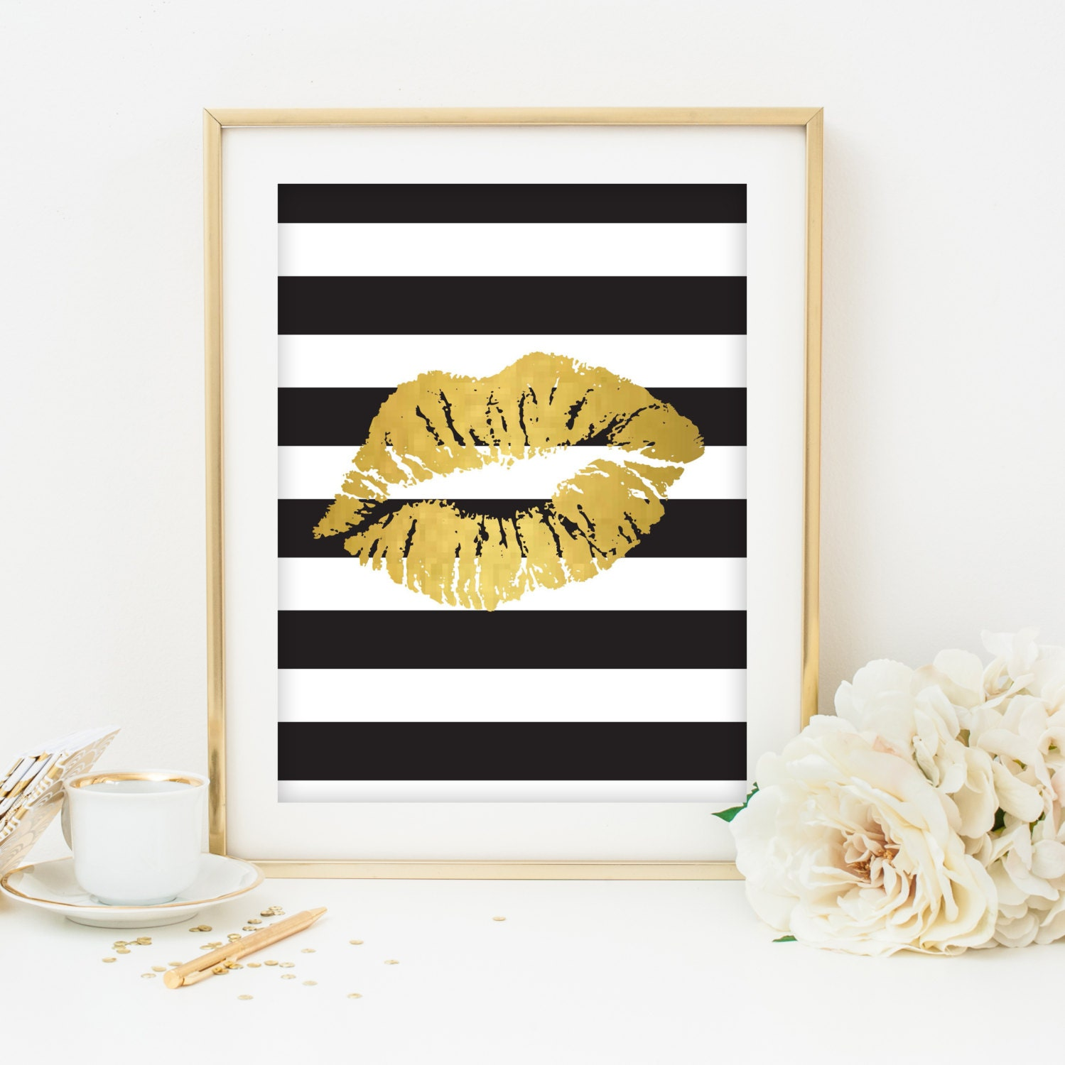black white and gold print printable art dorm room decoration. Black Bedroom Furniture Sets. Home Design Ideas