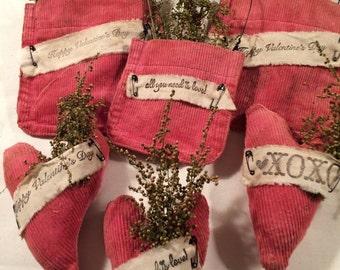 Handmade Primitve Valentine's Day Ornaments