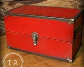Vintage Industrial Red Tool Box Jewelry Cabinet