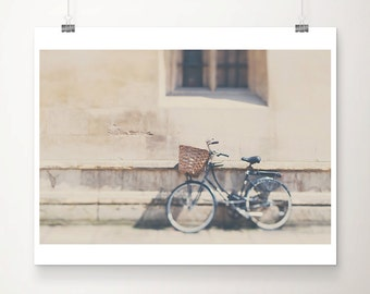 black bicycle photograph cambridge photograph travel photography black bike print english decor hipster style neutral home decor