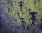 School of hammerhead sharks swimming in ocean.  Shark painting batik fine art print watercolor original painting blue decor wall art