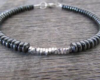 Men's Hematite Bracelet, Silver Bracelet, Bead Bracelet, Stack Bracelet, Hematite Jewelry, Men's Gift, Mens Gift, Gift For Him