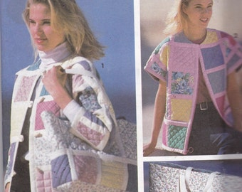 Simplicity 7893 Vintage Pattern Womens Quilted Jacket and Matching Handbag Size Pt, Sm, Med, Lg UNCUT
