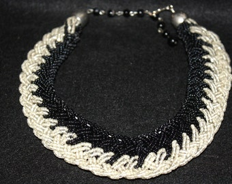 Vintage Black and White Beaded Choker