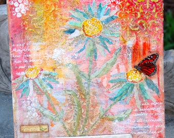 Spring in Bloom Original Mixed Media Collage,  Canvas Art 12x12