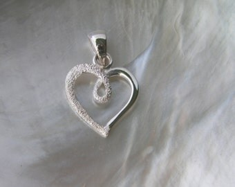 Handcrafted .925 Sterling Silver Heart Pendant Stardust Finish