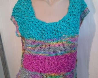 Hand Knitted turquoise and magenta sleeveless sweater vest with functional wood buttons