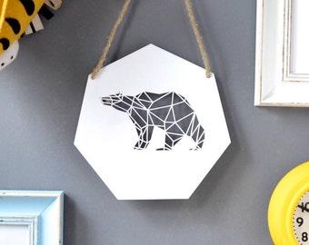 Geometric Bear Artwork - Wooden Bear - Home Decor - Bear Lover Gift - Wall Art - Housewarming Gift - Geometric Wall Art - Modern Wall Art