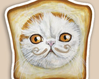 STICKER Snoopy Bread Cat with moustache Lolcat Toast cat