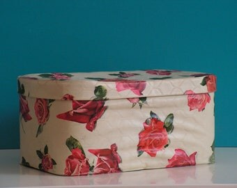 Vintage 1950s 1960s  vinyl Baby changing table Basket Bin Caddy roses Johnson and Johson