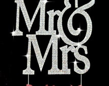 Sparkling Mr & Mrs Monogram Silhouette Crystal Wedding Cake Toppers Bling Cake Topper