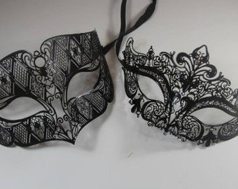 His & Hers Couples Black Metal Laser Cut Masquerade Couples Mask Set