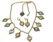 Cloisonne Charms - Flower Necklace- Gold Plated Chain, Free Matching Earrings, Necklace For Her, Flower Charms, Chinese Cloisonne  Beads