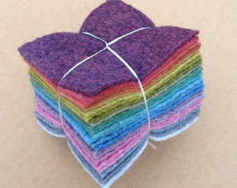 Felt Tower, 24 pieces of Hand Dyed Wool and Viscose Felt, Darker Sludgy Colours across the Spectrum
