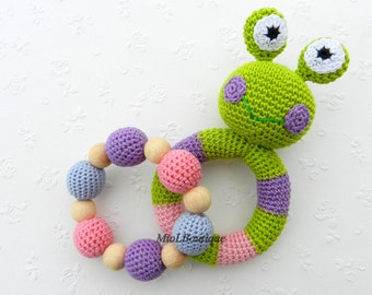 Baby teething toy SET of 2 Teething baby toy.  Grasping and Teething Toys.  Frog. Stuffed toys. gift for baby!