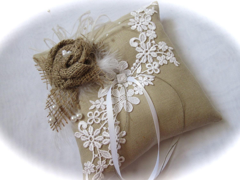Ring Bearer Wedding Ring Bearer Pillow Handmade Burlap