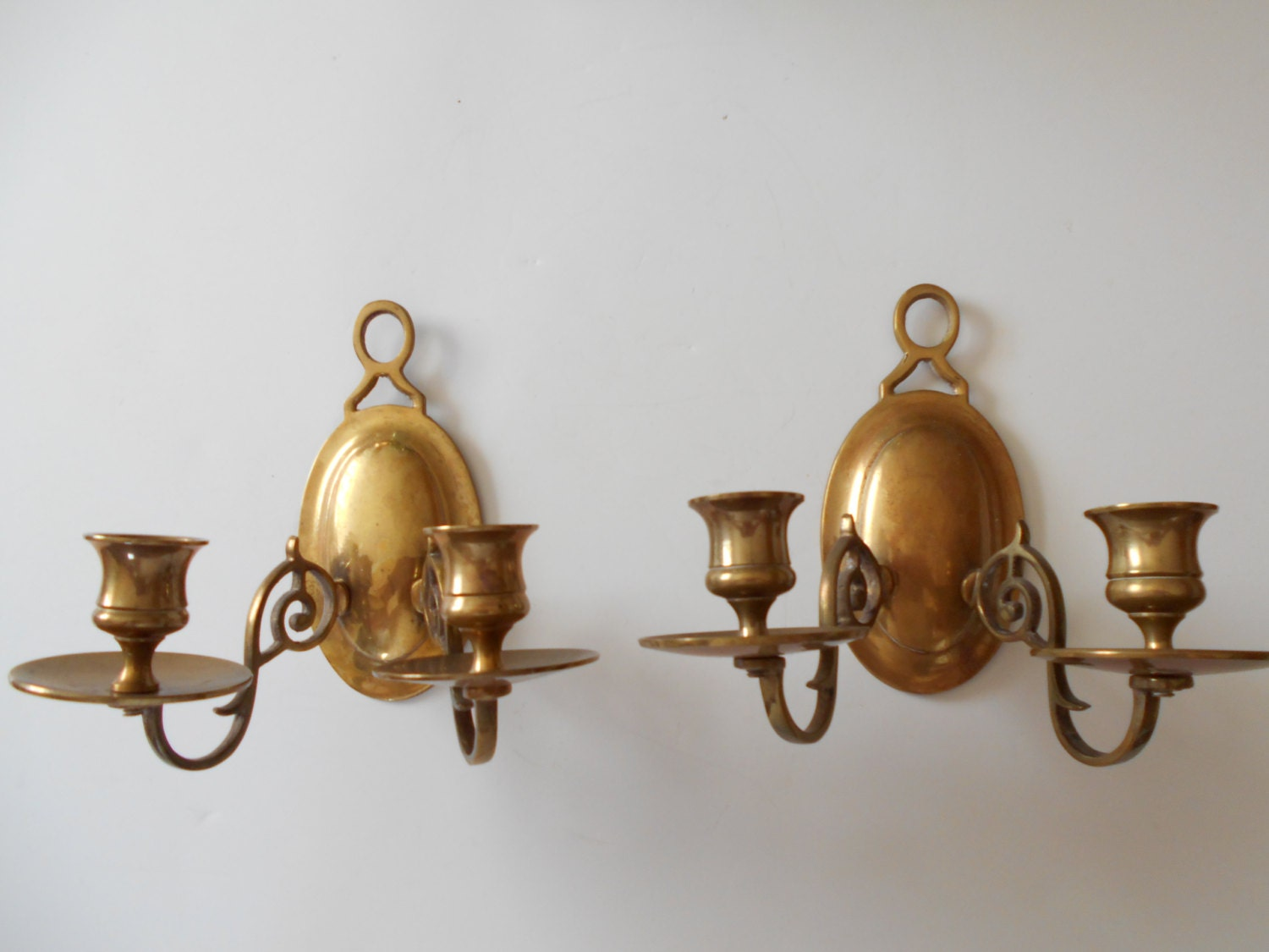 Solid Brass Wall Sconces or Candle Holders Set of Two