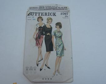 Butterick 3767 Vintage Sheath Dress Pattern, Vintage Sheath Pattern Size 14, Butterick 3767, 1960s Dress Pattern, Sheath Dress Pattern