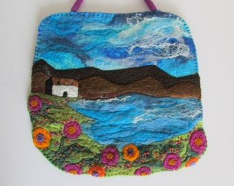 Original- Wet Felted Painting Cottage by the Water