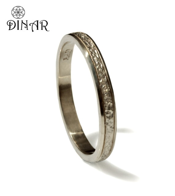 hammered wedding ring thin 14k solid white gold wedding band