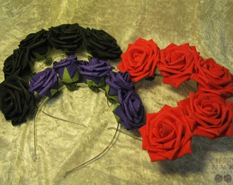 Black Faux Leather Roses Headband with Sparkles.
