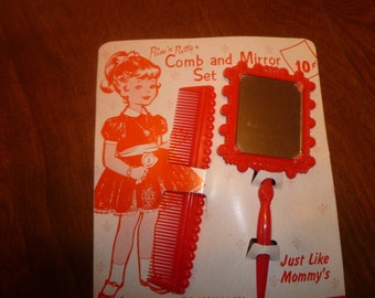 Vintage New Child's Comb and Mirror