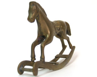 Vintage Brass Rocking Horse nursery decor
