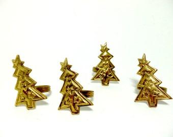 Napkin Rings, Christmas Tree Napkin Rings, Holiday Napkin Rings, Brass Napkin Rings, Set of 4
