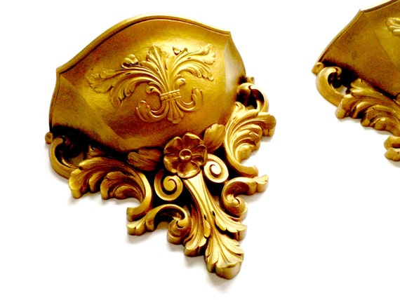Pair of Syroco Gold Wall Pockets or Sconces, Gold Wall Pockets, Planters, Ornate Gold Wall Decor, Hollywood Regency