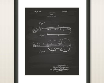 Vintage Violin 1928 Patent Art Illustration - Drawing - Printable INSTANT DOWNLOAD - Get 5 colors background