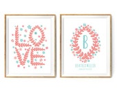 Floral Love Birth Announcement Print Set for a Baby Girl's Nursery - Coral and Turquoise Prints - Instant Download Wall Art - Print at Home