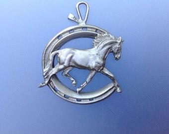 HORSE Horseshoe classic satin pewter ornament key chain, charm
