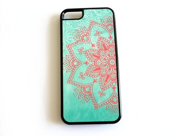 Mandala iPhone 6, Mint Coral 5s, Mint Ombre iphone 6, Floral iPhone 5 Case, iPhone 4 Case, iPhone 4s Case, Samsung Galaxy s4 s3